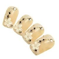 2013 Hot new fashion woman nail decoration French Flower Rhinestone fake nails tips bride nail patch Free Shipping