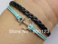 Anchor Bracelet-Pirates Carribbean Bracelet, Antique Silver Anchor Bracelet, Black Leather Braid Bracelet-C018