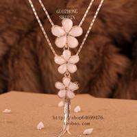Necklace - beige - eye multi-layer flower vintage long design necklace