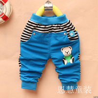 Children's clothing male child female child 2012 autumn small ploughboys foot pants cartoon graphic patterns open file trousers