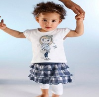 2013 NEW  arrive free shipping  children girl two pcs set t shirt+skirt children clothing suit good quality children wear