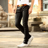 free shipping+Leather pants male personality pants PU patchwork casual fashion male skinny pants