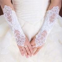 New White Fingerless Beaded Satin Wedding Gloves Bridal Gloves Elbow Small