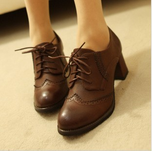 2013 spring and autumn brockden casual shoes vintage british style women'swomen's thick heel lacing shoes(China (Mainland))