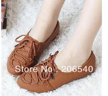 drop  shipping Fashion Casual Comfort Lace Up Flat Shoes Flattie Womens Lady