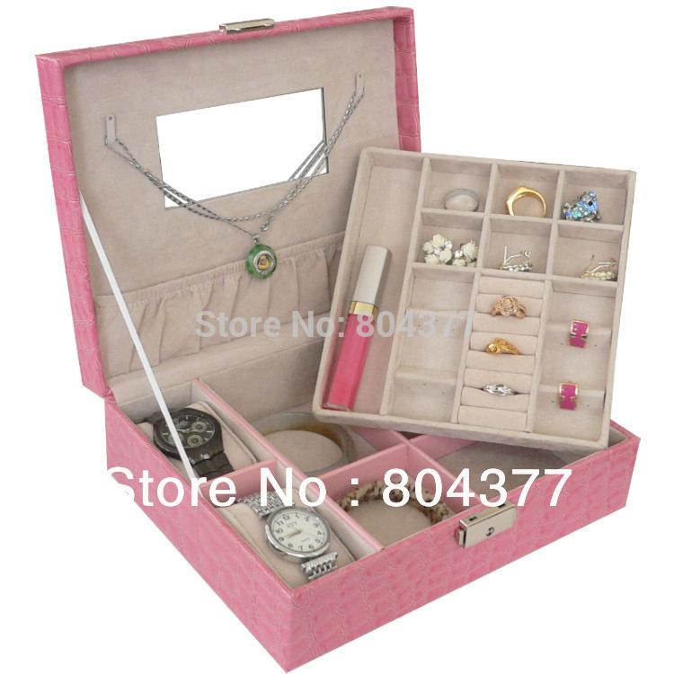 1 Crocodile leather Mirror 2 layer jewellery Jewelry Storage box/jewelry case/jewelry holder organizer SB-JB88(China (Mainland))