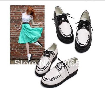 Women Vintage Classic British Trend Platform Lace UP Flats Flattie Shoes Girls Spring