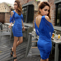 Women's party evening elegant Mini Dress Fashion party formal  tight  hip sexy v strapless    winter sexy club wear