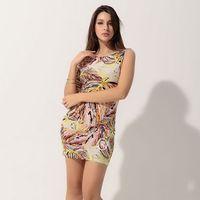 Women's party evening elegant Mini Dress Coloro2012 short-sleeve print tight  hip short skirt   sexy club wear