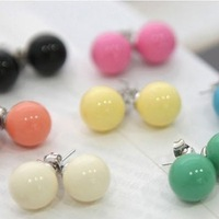 Hot-selling cute candy color stud earring multicolour candy ball stud earring