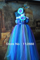 Beautiful Peacock Tutu Dress Girls' Handmade Evening Dresses Baby Length Party Wedding Dress 5 Sizes to Choose Free Shipping