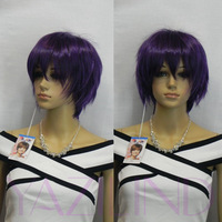 Short Sexy Punk Grape Purple Short Straight Full Synthetic Unisex Wig Cap Wigs