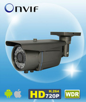 "H.264 Onvif WDR 720P IP Bullet Camera Box Camera 1/3"" CMOS Varifocal 4-9mm Lens 50m IR Outdoor AM-W736V"