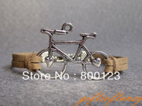 Cute Bicycle Bracelet---Antique Silver Bike Bracelet, light brown flocking rope Bracelet -B499