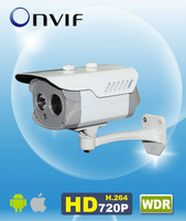 "H.264 Onvif WDR 720P IP IR Bullet Camera 1/3"" CMOS 1280*720 6mm lens Array LED 20m IR Outdoor AM-W7342"