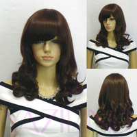 Ramp Bangs Full Synthetic Brown Curly Wavy Medium Fashion Wig Cosplay For Lady Girl