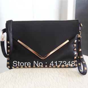 Hot Bags 2013 female women's handbag fashion vintage rivet envelope bag day clutch shoulder bag laptop free shipping PU leather