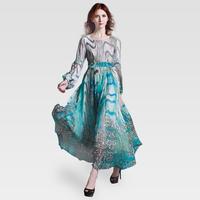 Women's o-neck lantern long sleeve length chiffon one-piece dress lyqa-116 hydrowave