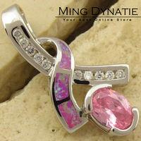 Pink Topaz Angel Pink Fire Opal Silver Fashion Jewelry Women & Men Pendant OP207FC  Wholesale & Retail