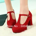 New Sexy Women Fashion Wedding Shoes Chunky High Heels Platform Pumps Red Black+free shipping