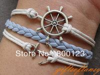 BraceletSilver Anchor Bracelet, Rudder Bracelet, White Wax Cords and BlueBraid Bracelet