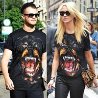 Free Shipping! New Fashion Giv Men's/Women's Cotton Short sleeve T-Shirt Rottweiler Shirts Top Tops Black