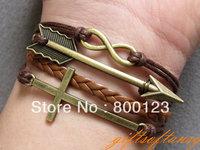 Bracelet- Vintage Bronze Cross Bracelet, Infintiy Bracelet, Arrow Braclet, Brown Braid and Wax Cords Bracelet-L428