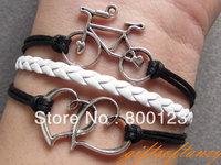 Bicycle Bracelet---Antique Silver Love Heart 2 Heart Bracelet,  Black wax cord and white Braid Bracelet -B491
