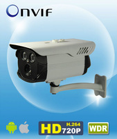 "H.264 Onvif WDR 720P IP IR Bullet Camera 1/3"" CMOS 1280*720 6mm lens Array LED 50m IR Outdoor AM-W7383"