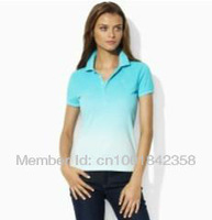 Free Shipping POLO Women's T-shirt ,Wholesale handsome summer blouse sport tees shirts for women clothing gradient color