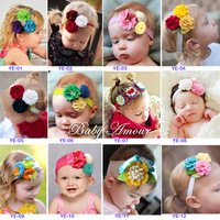 (10 picecs free shipping)2013 spring baby headband baby flower hair accessory child three-dimensional flowers excellent