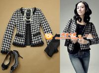 Free shipping 2 women's hepburn classic houndstooth short woolen vintage coat top