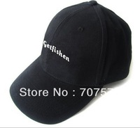black cotton cap with flat embroidery