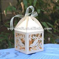 laser cut wedding favor party supply bird ivory favor box promotion