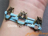 Triple Owl Bracelet - Antique Bronze Owl Bracelet, Blue Wax Cords Bracelet, lucky Owl -Inspired by message of Harry Potter-M325