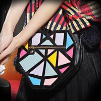 Free Shipping 2013 summer heart color block small bag color block decoration shoulder bag women's handbag Novel fashion bag