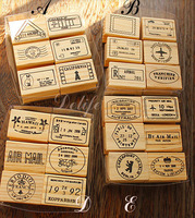 Wholesale airplane envelope wooden stamp  set  6 pcs/set