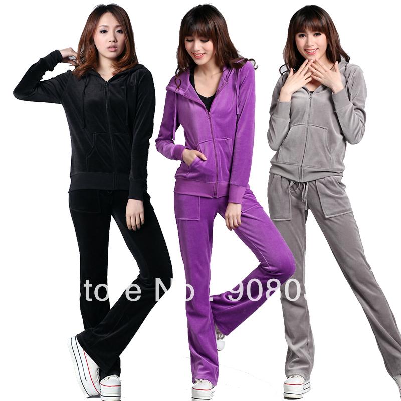 2013 Hot promotion autumn sweatshirt set embroidery velvet casual set velvet sportswear set Women(China (Mainland))