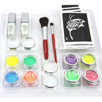 8 colors UV Glitter tattoo kit Wholesale for body art paint brushes/glue/stencil Free shipping