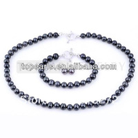Topearl Jewelry Black FW Pearl Jewelry Set 925 Silver Heart Clasp NJ107495