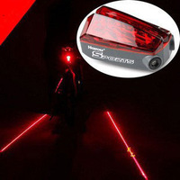 Wholesale ! 10pcs/lot New 5 LED 2 Lasers Bike Red Flash Tail Rear Light Lamp Bicycle Safety Caution, Free Drop Shipping