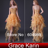 Specail Offer! Free Shipping 1pc Grace Karin Strapless Tulle High-Low Prom Dresses, Gold CL3848