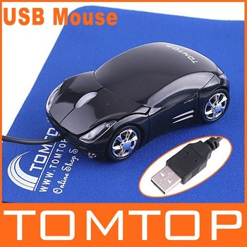 5pcs Cool Car Shape Black Mini Wired 3D Optical USB Mouse with TOMTOP Logo Wholesale Free Drop Shipping