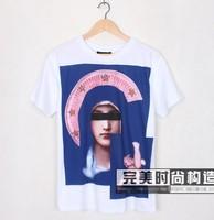 Free Shipping! 2013 New Fashion Classic Brand Giv Men's Cotton Goddess Short sleeve T-Shirt Shirts Top Tops White 2 Color