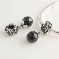 925 Sterling Silver Black Spinel Flora Dangle Charm Bead Fits European Style Jewelry Bracelets & Necklaces