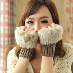 2013 new style Lovely Women lady joker imitation rabbit hair line winter dew refers to warm winter half finger Gloves(China (Mainland))