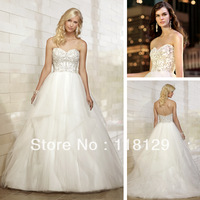 2013 Modest Sweetheart BallGown Organza Bride Gown  Chapel Train Sleeveless Beading Wedding Dress 1475