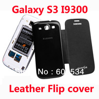 1pcs/lot Back cover flip leather case battery housing case for Samsung Galaxy S3 i9300,free 1 screen Film+1 stylus+shipping