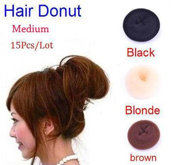 Promotions!! Wholesale 15Pcs/Lot Hair Bun Ring Donut Shaper Hair Roller Styler Maker Tool Medium Black/Blonde/Brown