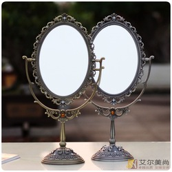 Vintage fashion table mirror vanity mirror makeup mirror princess double faced mirror tin(China (Mainland))